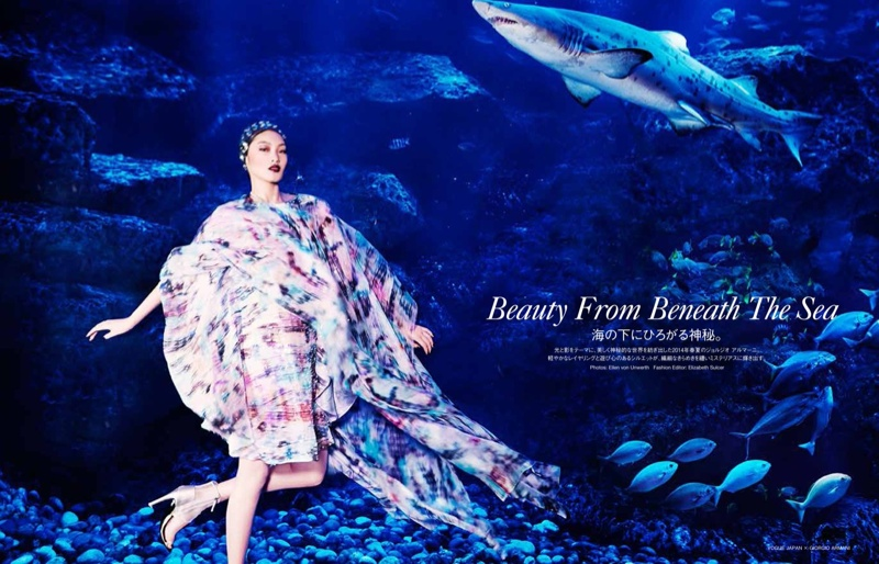 blue armani shoot1 Beneath the Sea: Chiharu Okunugi Wears Armani for Vogue Japan by Ellen von Unwerth