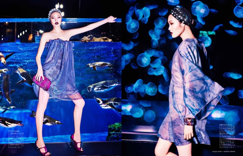 blue armani shoot2 Beneath the Sea: Chiharu Okunugi Wears Armani for Vogue Japan by Ellen von Unwerth