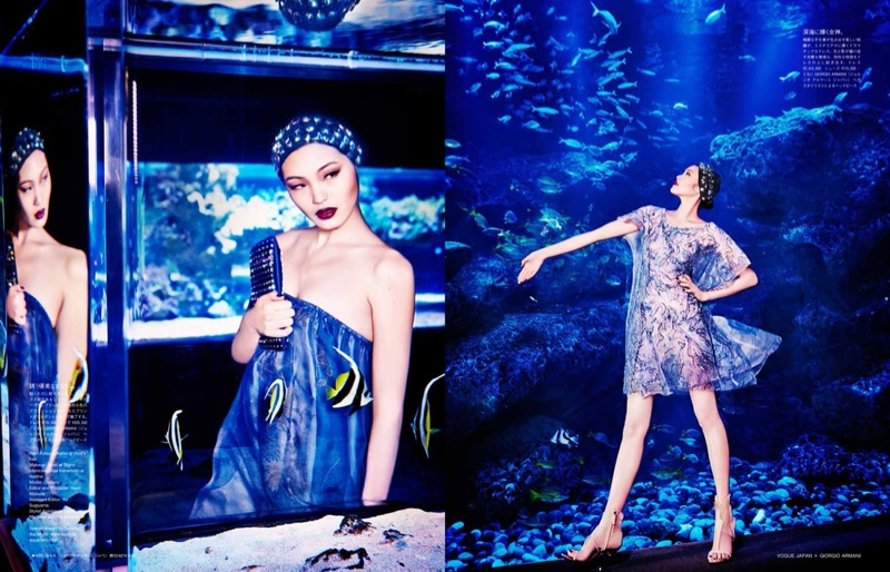 blue armani shoot4 Beneath the Sea: Chiharu Okunugi Wears Armani for Vogue Japan by Ellen von Unwerth