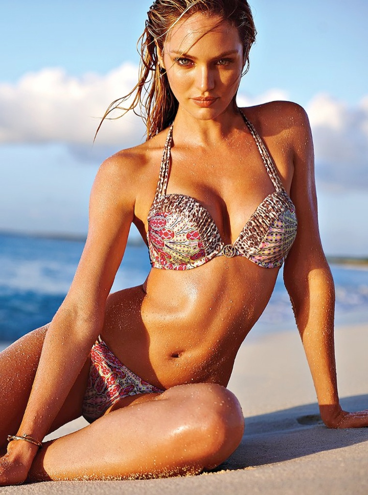 Candice Swanepoel Models Bikinis in Victoria's Secret Shoot