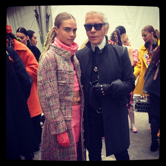 Cara Delevingne + Karl Lagerfeled backstage at Chanel's fall show / Courtesy of Instagram