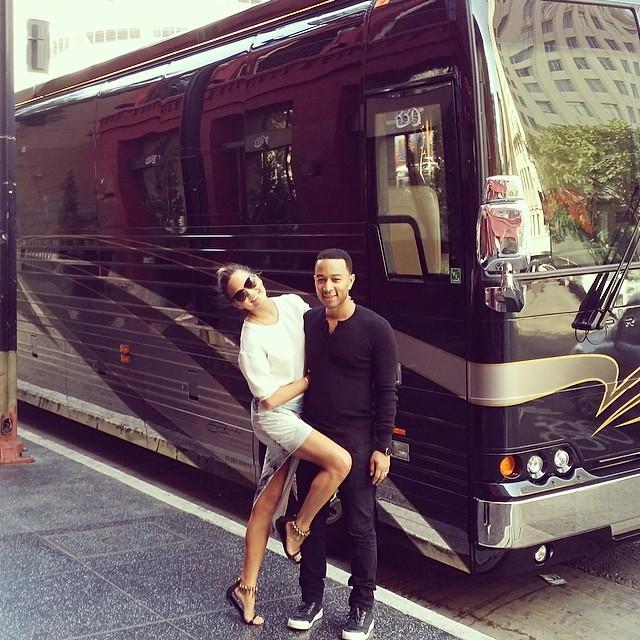 Chrissy Teigen poses with husband John Legend