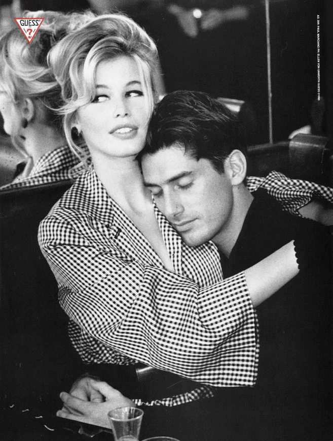 claudia schiffer in vintage guess ads