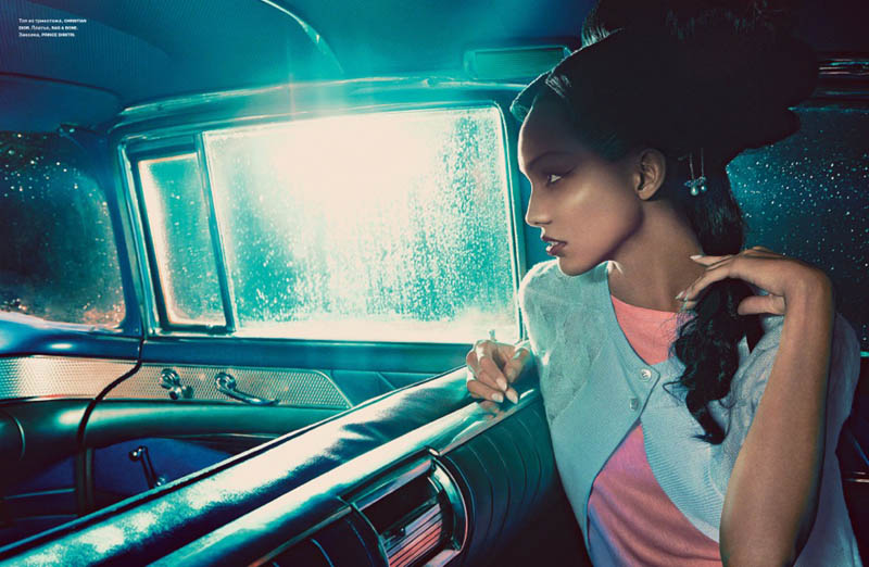 cora emmanuel model2 Pink Lady: Cora Emmanuel Gets Retro for Francesco Carrozzini in Numero Russia