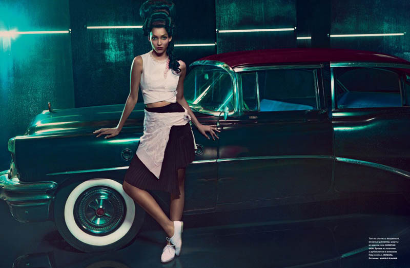 cora emmanuel model3 Pink Lady: Cora Emmanuel Gets Retro for Francesco Carrozzini in Numero Russia