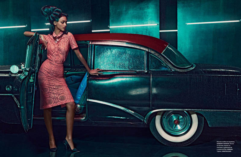 cora emmanuel model5 Pink Lady: Cora Emmanuel Gets Retro for Francesco Carrozzini in Numero Russia