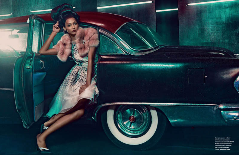 cora emmanuel model8 Pink Lady: Cora Emmanuel Gets Retro for Francesco Carrozzini in Numero Russia