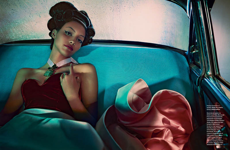 cora emmanuel model9 Pink Lady: Cora Emmanuel Gets Retro for Francesco Carrozzini in Numero Russia