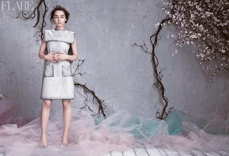emilia clarke flare2 Emilia Clarke Lands FLARE Cover, Reveals Truth About Red Carpet