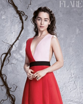 emilia clarke flare3 326x406 Giuseppe Zanotti Announces First Clothing Line