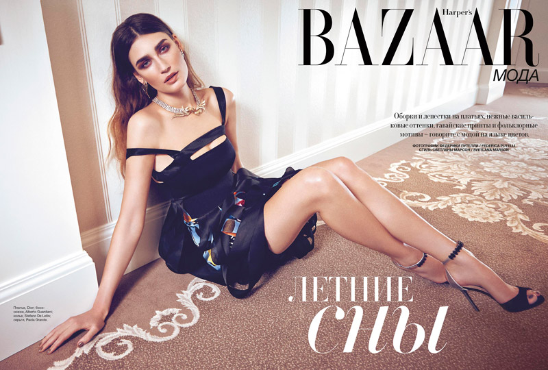 eugenia volodina photo shoot1 Eugenia Volodina Gets Glam in Bazaar Ukraine Shoot by Federica Putelli