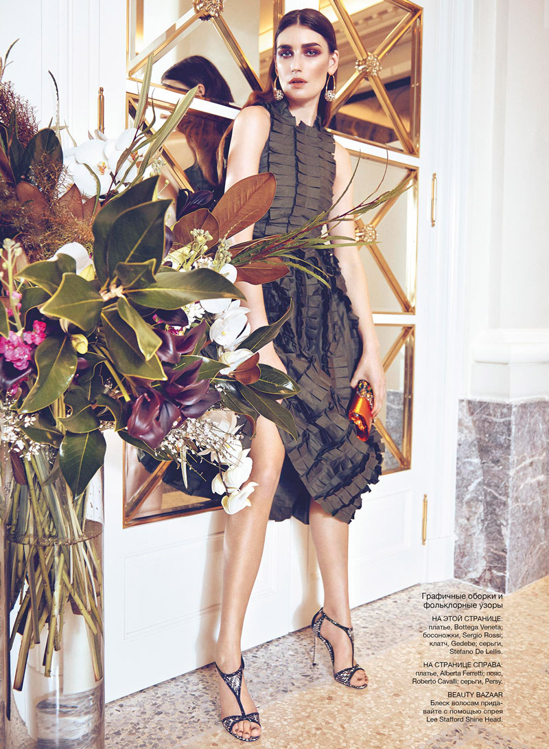 eugenia volodina photo shoot2 Eugenia Volodina Gets Glam in Bazaar Ukraine Shoot by Federica Putelli