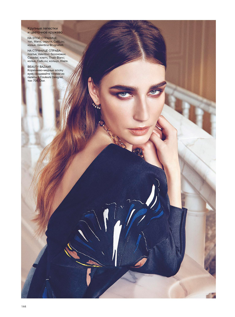 eugenia volodina photo shoot4 Eugenia Volodina Gets Glam in Bazaar Ukraine Shoot by Federica Putelli