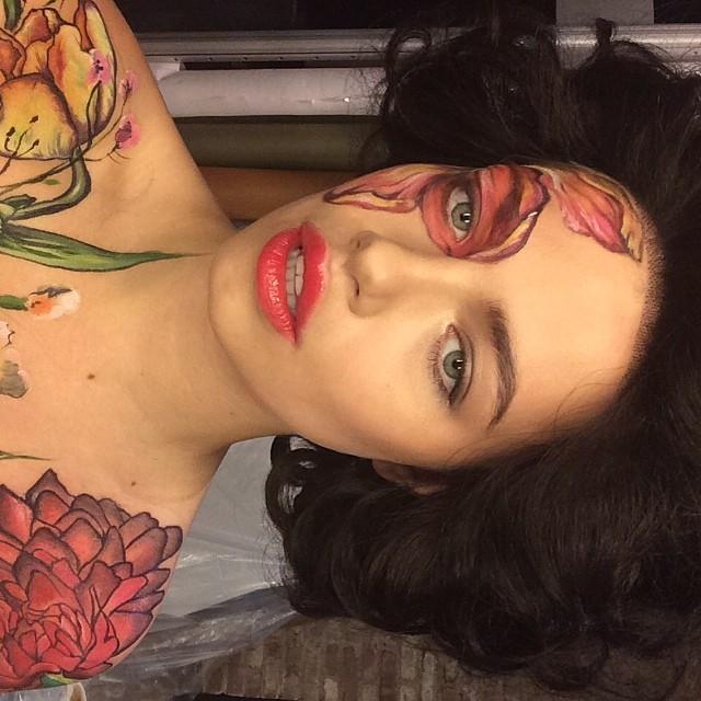 Hailey Clauson wears intense face makeup