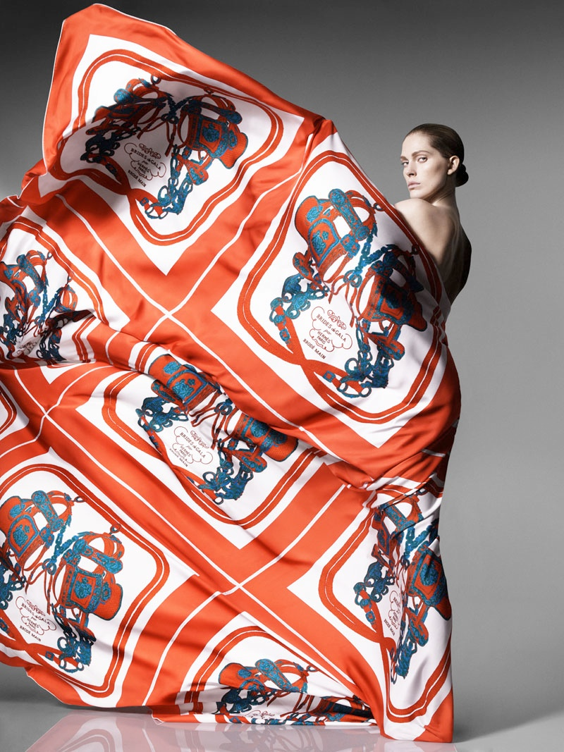 Iselin Steiro Models Hermès Printed Scarves for Spring '14 Catalogue