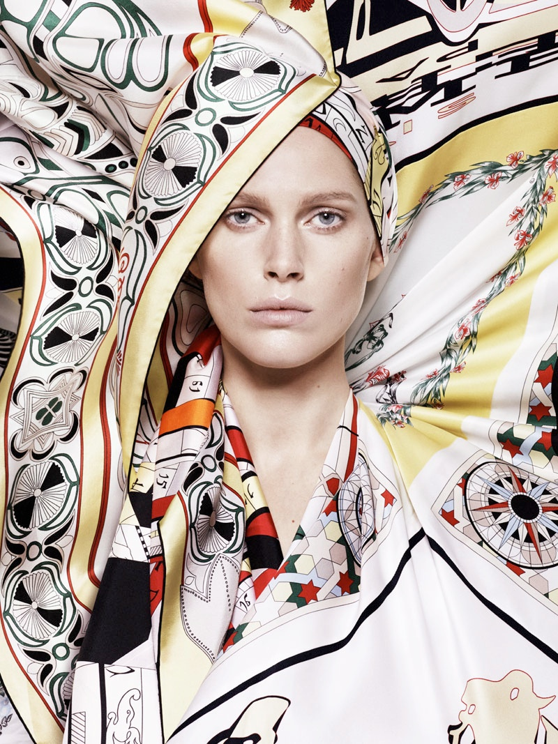hermes scarves shoot5 Iselin Steiro Models Hermès Printed Scarves for Spring 14 Catalogue