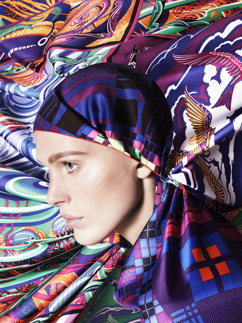 hermes scarves shoot7 Iselin Steiro Models Hermès Printed Scarves for Spring 14 Catalogue