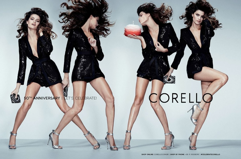 isabeli fontana corello fall 2014 2 Isabeli Fontana Gets Festive in Corellos 50th Anniversary Campaign