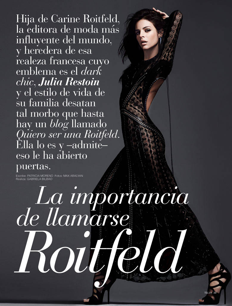 julia restoin roitfeld photos1 Back to Black: Julia Restoin Roitfeld Stars in Telva Shoot by Max Abadian