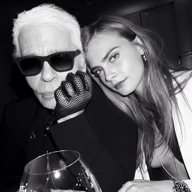 Karl Lagerfeld and Cara Delevingne pose together once again
