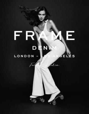 Karlie Kloss Wears Roller Skates, Long Hair in Frame Denim Spring 2014 Ad