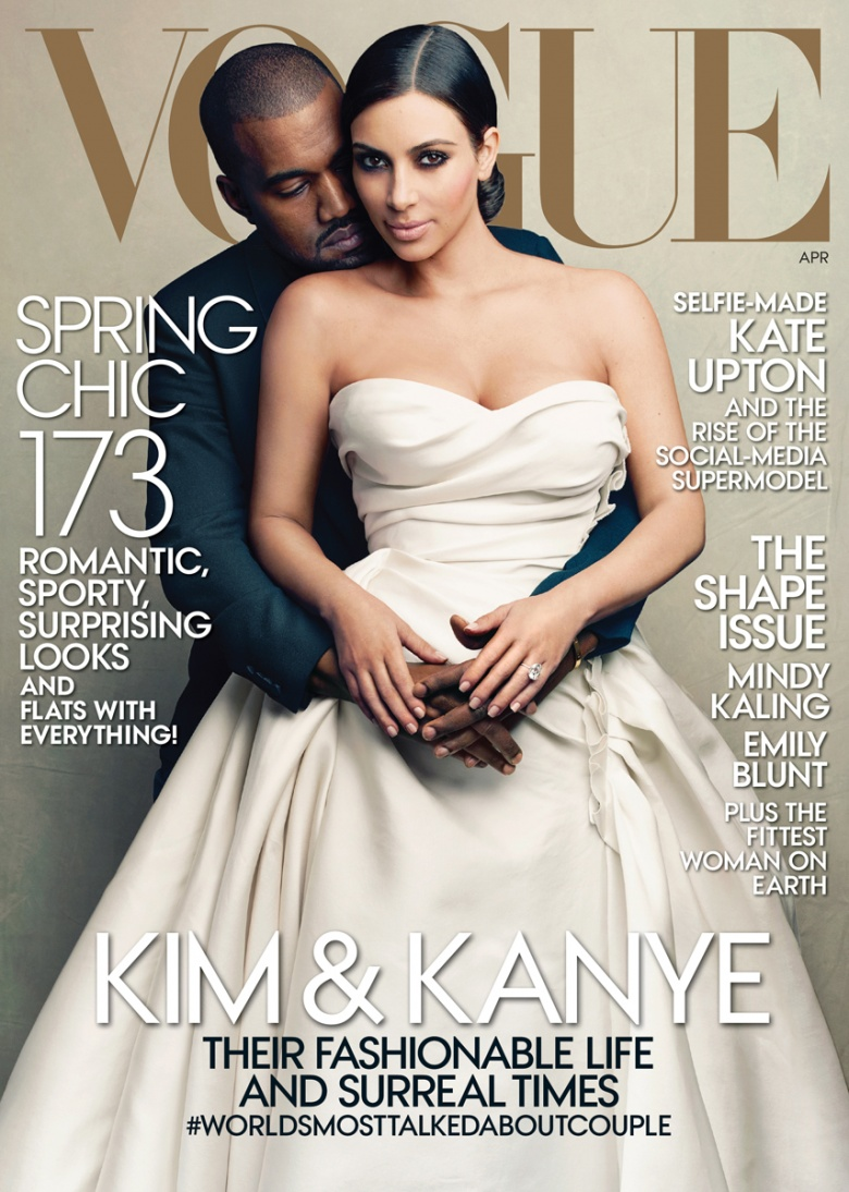Kim Kardashian and Kanye West on Vogue April 2014 Cover