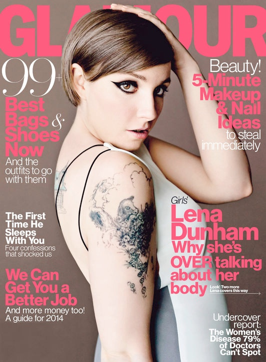 lena dunham glamour1 Lena Dunham (and Her Tattoos) Cover Glamour April 2014