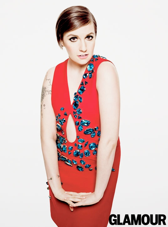 lena dunham glamour4 Lena Dunham (and Her Tattoos) Cover Glamour April 2014