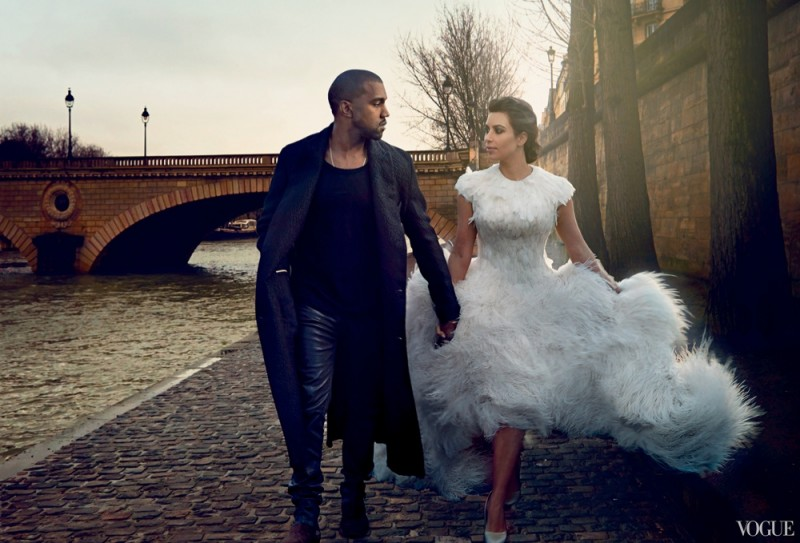 Kanye West & Kim Kardashian (wearing Alexander McQueen) in Vogue April 2014 Issue / Image: Annie Leibovitz/Vogue