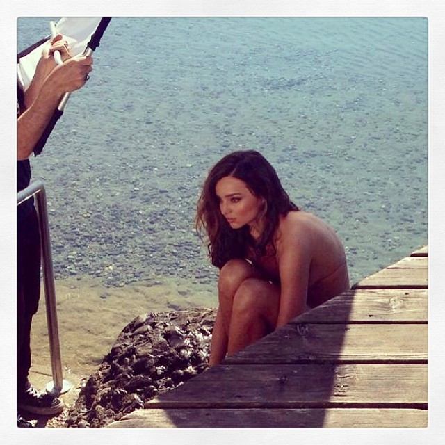 Miranda Kerr on set on Kora Organic cosmetics ad