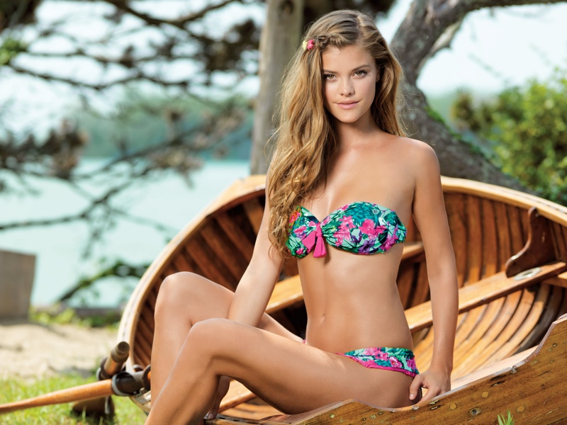 nina agdal banana moon spring 2014 4 Nina Agdal Models Summer Bikinis in Banana Moon Shoot