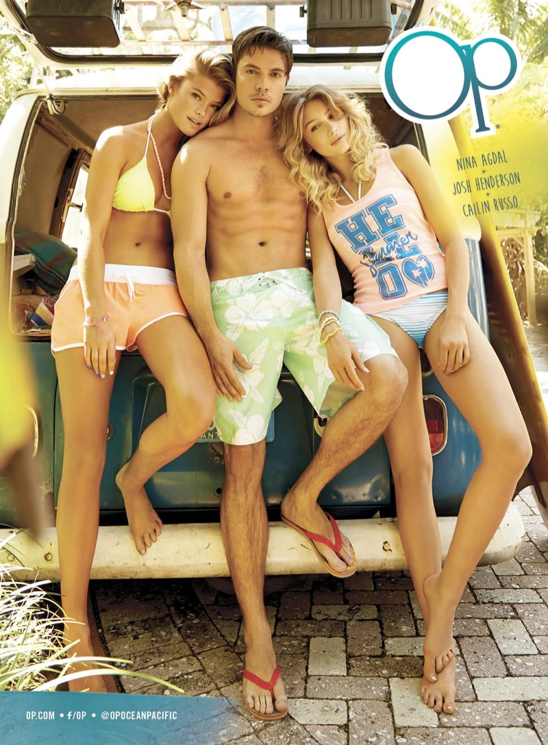 nina agdal op spring 2014 campaign6 Nina Agdal + Cailin Russo Soak Up the Sun in OP Spring 2014 Ads