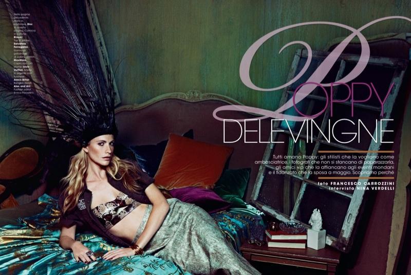 poppy delevingne 2014 4 Poppy Delevingne Goes Bohemian in Glamour Italia by Francesco Carrozzini