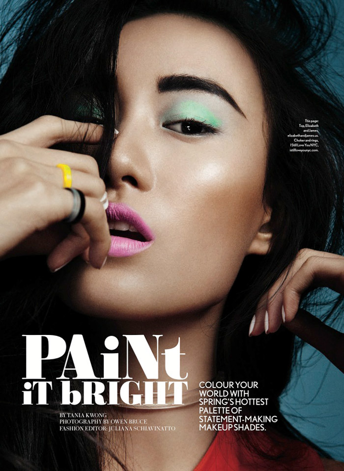 shu pei glow1 Paint it Bright: Shu Pei Wows in Glow Canada April Cover Shoot
