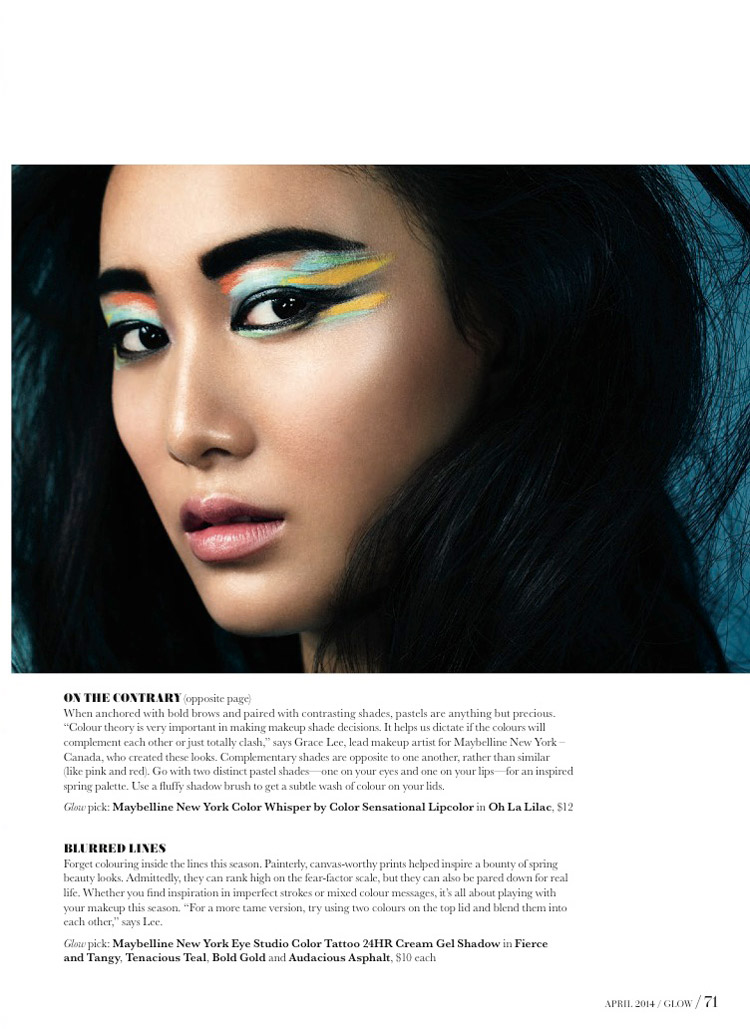 Paint it Bright: Shu Pei Wows in Glow Canada April Cover Shoot