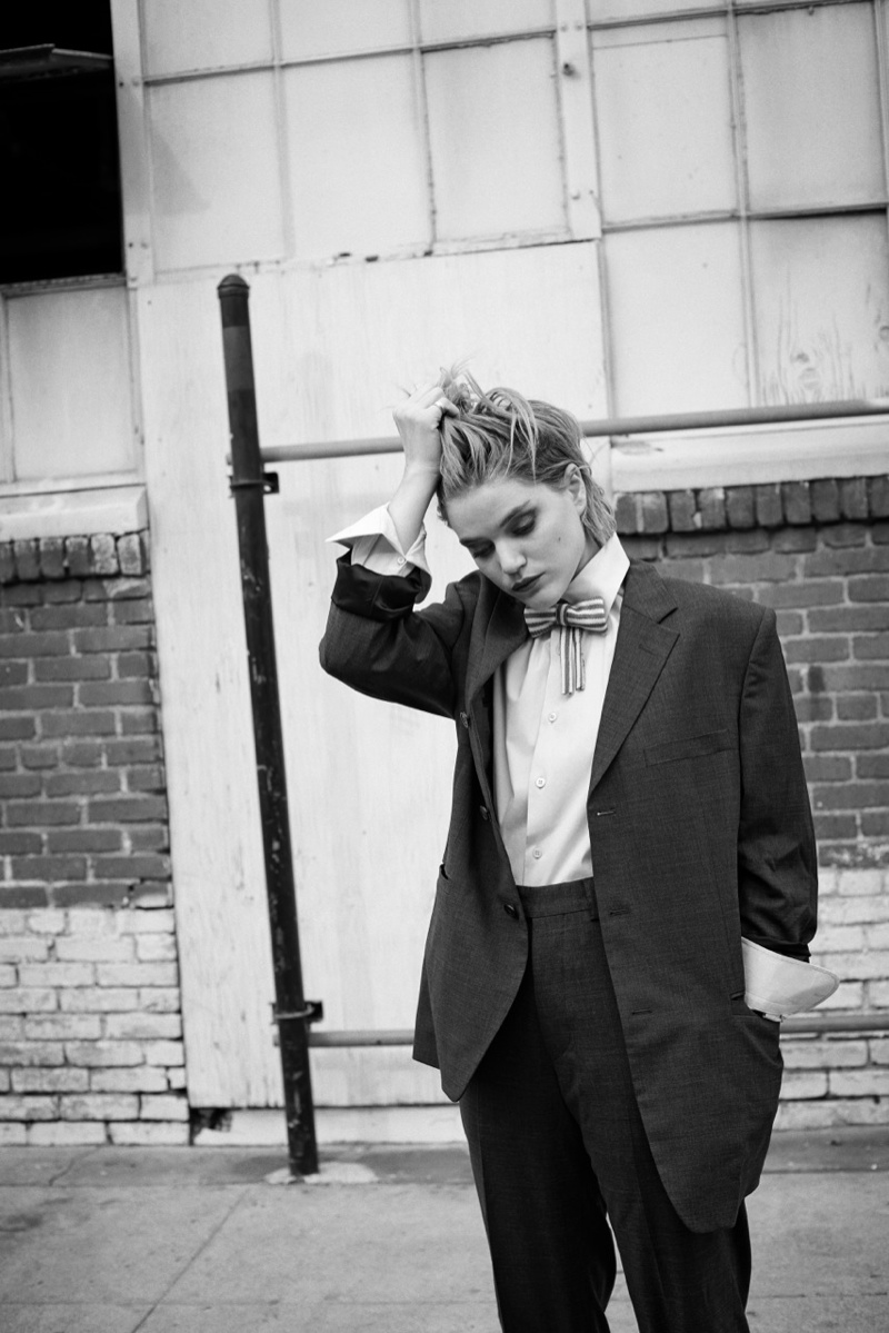 soko singer7 Soko Dons Boyish Chic Style for Eric Guillemain in LUomo Vogue