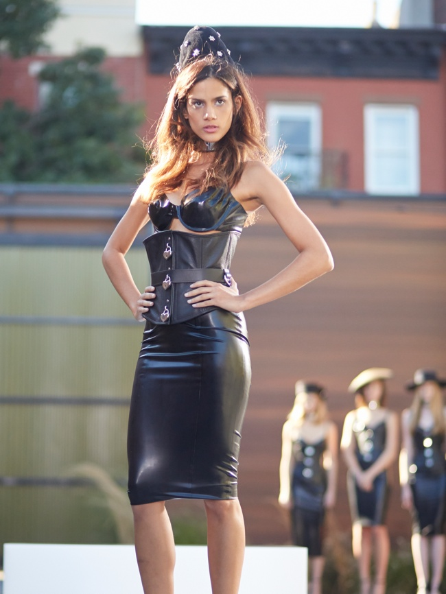 Sharon walks in latex for Episode 3 challenge / Image: Tim Brown/Oxygen Media