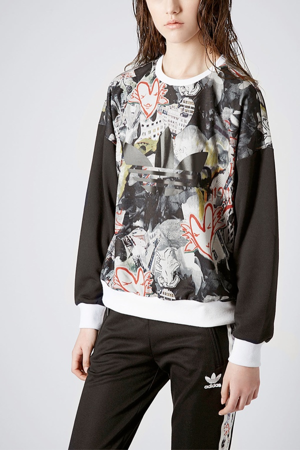 topshop adidas print sweatshirt Shop the Topshop x adidas Originals Collection