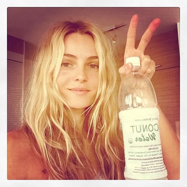 Valentina Zelyaeva loves her coconut water