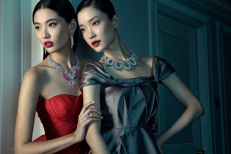 Du Juan + Bonnie Chen Shine in Van Cleef & Arpels Shoot by Richard Ramos