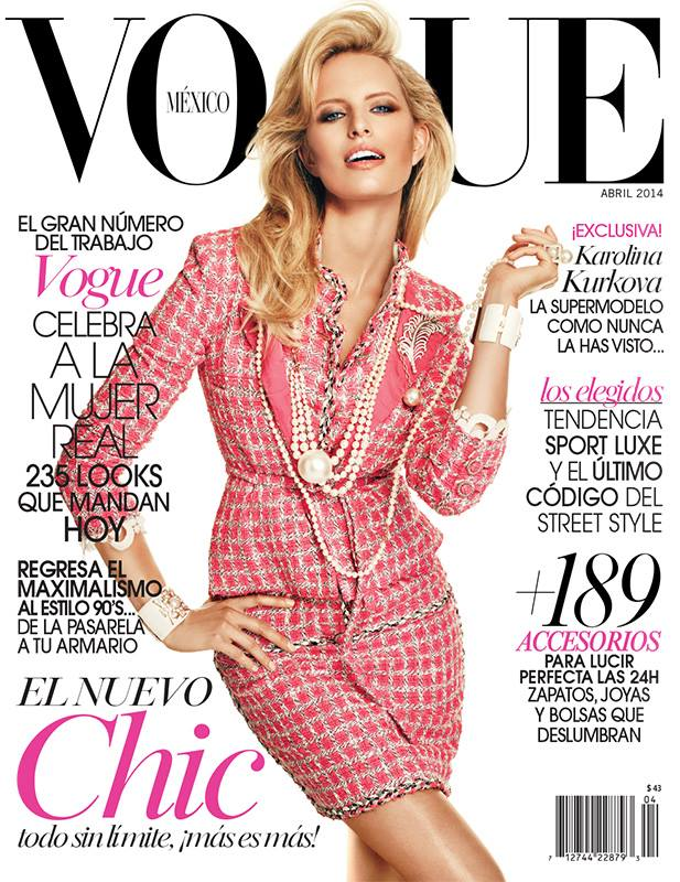 Karolina Kurkova is Pretty in Chanel for Vogue Mexico April 2014 Cover