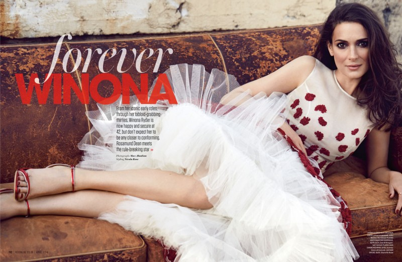 Winona Ryder Charms for Red Magazine Feature by Max Abadian