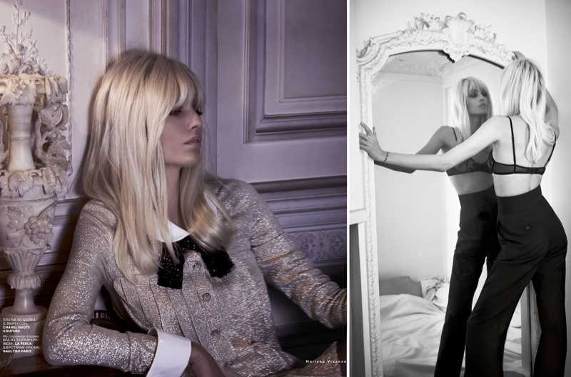 ysl seventies shoot3 Le Smoking: Nadja Bender Channels 70s YSL for Mariano Vivanco in Vogue Russia