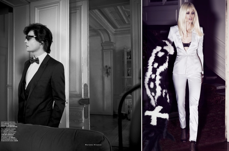 ysl seventies shoot4 Le Smoking: Nadja Bender Channels 70s YSL for Mariano Vivanco in Vogue Russia