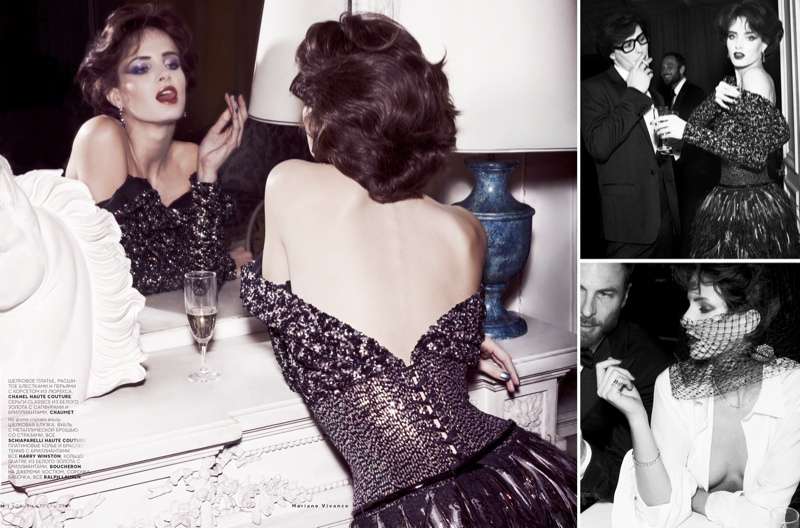 ysl seventies shoot5 Le Smoking: Nadja Bender Channels 70s YSL for Mariano Vivanco in Vogue Russia