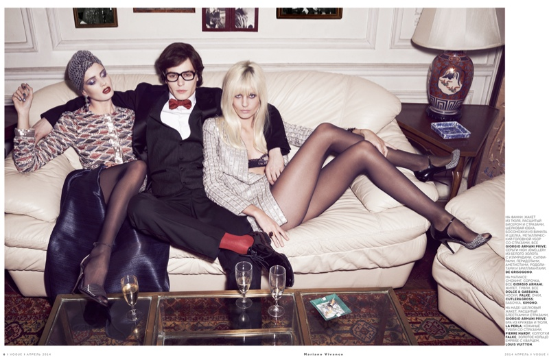 ysl seventies shoot6 Le Smoking: Nadja Bender Channels 70s YSL for Mariano Vivanco in Vogue Russia