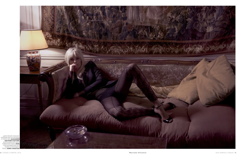 ysl seventies shoot8 Le Smoking: Nadja Bender Channels 70s YSL for Mariano Vivanco in Vogue Russia