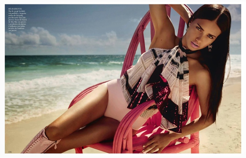 adriana lima beach shoot4 Adriana Lima is a Vision in Pink for Miguel Reveriego in Vogue Spain Spread