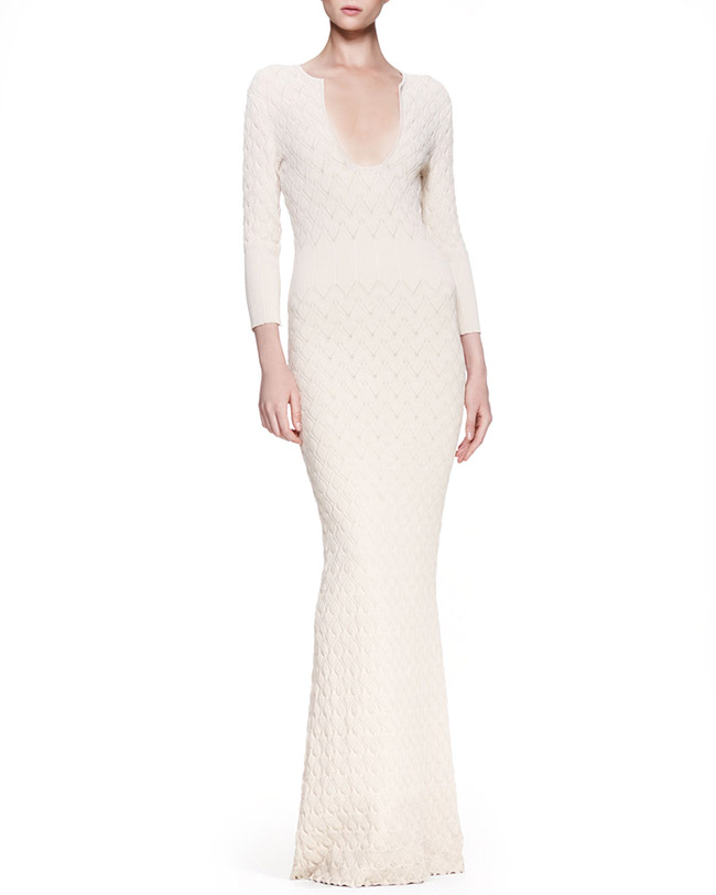 alexander mcqueen knit dress cream Get the Look: Nicki Minaj in Alexander McQueen Rib Knit Gown