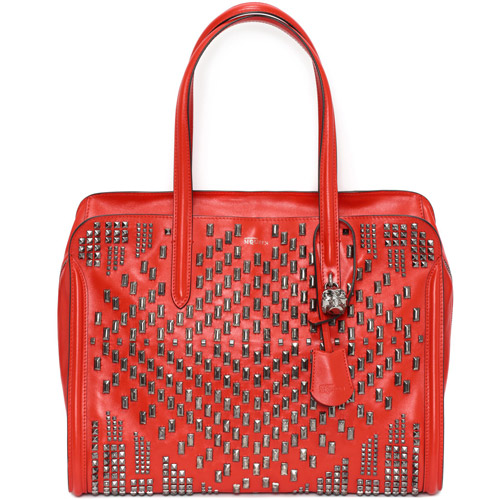 alexander mcqueen spring 2014 heroine bag red stud Closer Look: Alexander McQueen Spring/Summer 2014 Heroine Bag